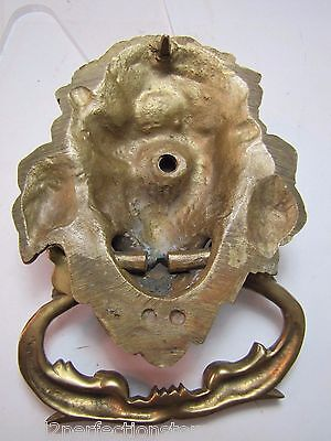 Old Brass Figural Lions Head Dauphin Koi Door Pull ornate architectural hardware 10