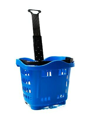 Plastic Wheeled Shopping Trolley Basket  - 43 Litre Various Colours 2