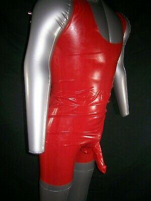 Red Fetish Bondage Rubber Latex Body Sheath 3350 Condom Gimp Gay Sexy Catsuit 4