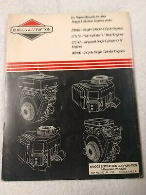 Briggs & Stratton 4-Cycle V-Twin Cylinder OHV Engines Repair Manual 1J-2587-X17 2