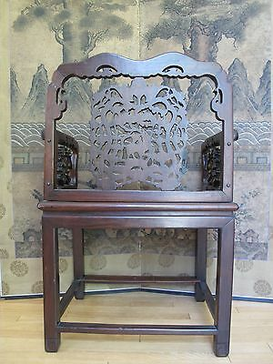 Beautiful 18-19th Century Qing Dyn. Chinese Rosewood Mother of Pearl Inlay Chair 4