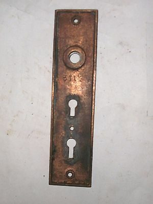 Antique Victorian Era Double Keyhole Door Knob Backplate  stamped 511 1/2 6
