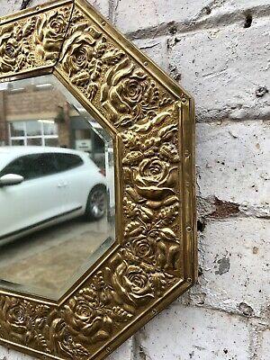 "Vintage Pressed Brass Floral Octagonal Framed Wall Mirror 16"" Decorative Antique 3"