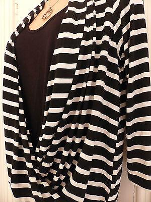Wallis size 12 black and white striped jersey faux wrap top black vest 10