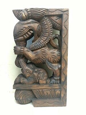 Wall Wooden Bracket Corbel Pair Temple Yalli Dragon Statue Sculpture Home Decor 4