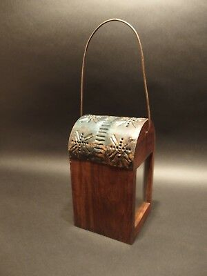 Antique Style Wood Punched Tin Glass Lantern Lamp Candle Holder 3