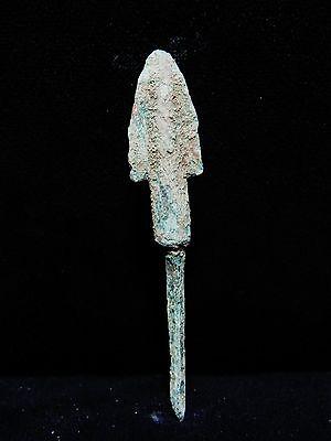 "Zurqieh - Ah29- Over 3000 Years Old Bronze Long Arrow Head - 1200 B.c , 3 1/8 "" 2"