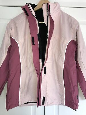 HIGH COLORADO - 2 in 1 - Jacke + Fleecejacke - Gr. 152 - Rosa Schwarz - Kapuze 8