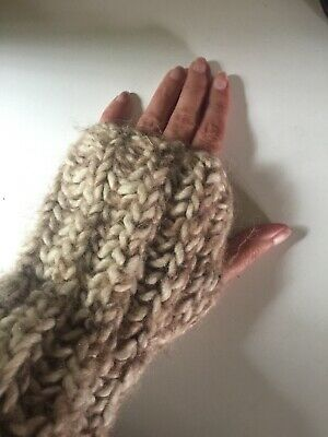 Vtg 80s Cream Brown Wool Hand Knitted Scarf Fingerless Gloves Novelty Onesize 3