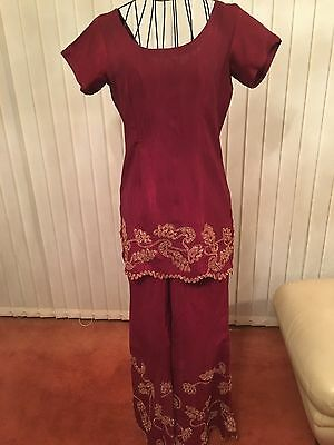 Ladies Beautiful 3 Piece Indian Red Gold Bollywood Shalwar Kameez Suit Size 10 3