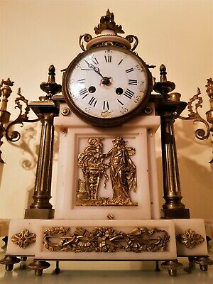 Large Antique French Ormolu and White Marble Mantel Clock. 3