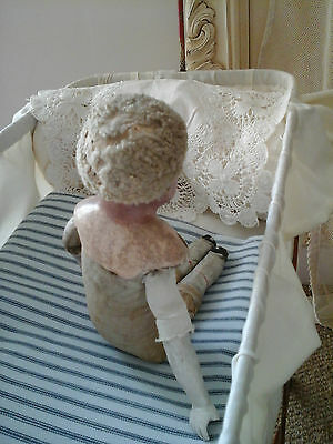 Rare Antique French Boudoir Mannequin Doll~Primitive Porcelain/Linen Textil 1800 7