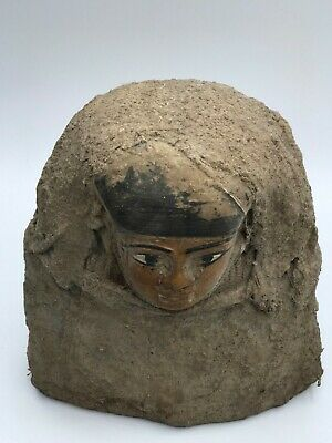 EGYPTIAN ANTIQUES EGYPT STATUE Head Mask PHARAOH Carved STONE BC 3