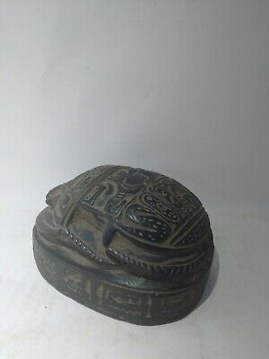 RARE ANTIQUE ANCIENT EGYPTIAN Scarab Beetle Carved Stone 1445-1540 Bc 3