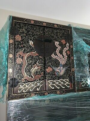 antique Chinese Black Lacquer Cabinet Dragons Double Top Wedding Chinoiserie 7