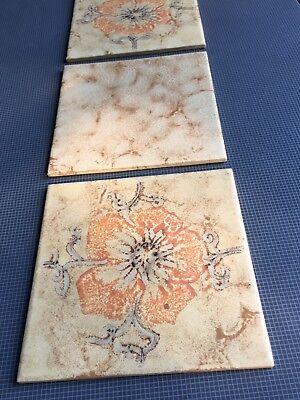 DÄNISCHBURG Vintage Beige Tiles Made In Germany 🇩🇪 Floral Design 2