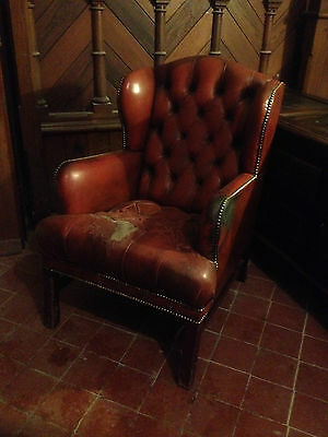 Good Wing Back Chesterfield Style Leather Oxblood Red Vintage Armchair Button 7