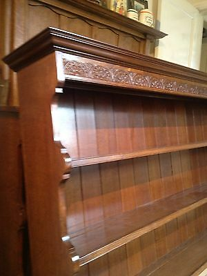 A Pair of Solid Oak Bookcases / Dressers Lunette Carved Cornice Maker Stamp 6