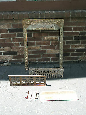 Antique Ornate Raised Relief Brass Gold Tone Metal Fireplace Surround Grate 4