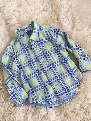 Toddler Boy Baby Gap Plaid Check Print Blue Green Button Down Shirt New 2Y 2