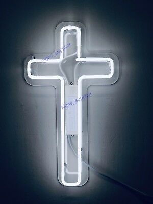 """Crucifix Jesus Saves Cross Neon Sign Lamp Light 14/""""x5/"""" Acrylic With Dimmer"""