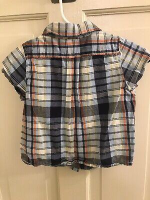 EUC Baby GAP Boys S/S Blue/Navy/Orange Button Den Shirt, Size 18-24M 2