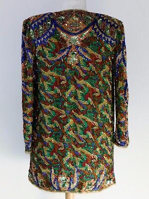 """Jasdee Vintage Beaded Jacket 32"""" Length HandWork & HandPrint On Silk  Style 5053 2"""