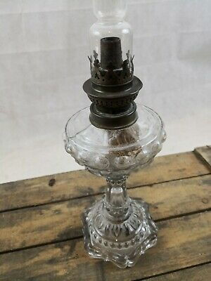 Lampe à pétrole ancienne en verre ou cristal/complète/old petrol lamp 4