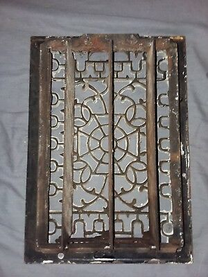 Antique Cast Iron Floor Wall Heat Grate 14x10 Louvres Victorian Design  100-18F 4