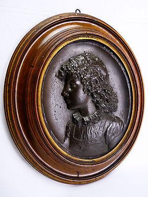 Augusto Felici (1851) Retrato Bronce Italia Roma Pontificia Pontificia Lombardía 7