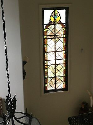 Rare Hand painted kiln Fired Window And Stained Glass 1830's English Church