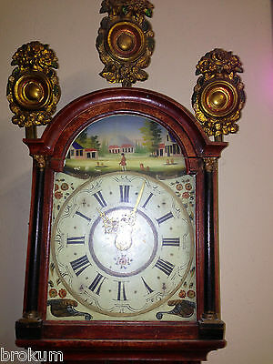 Early Friesland Dutch Wall Case Clock Weights ~ Handpainted Face~ Alarm ~Antique 2