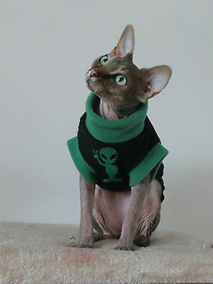small adult ALIEN  soft fleece top for a Sphynx cat clothes, Katzenbekleidung 2