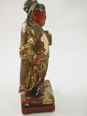 Chinese Polychrome Wood Carved Gift Bearer 7