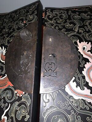 antique Chinese Black Lacquer Cabinet Dragons Double Top Wedding Chinoiserie 5