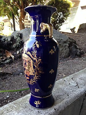 Rare Vintage Beautiful French Blue Glaze Gold Paint Porcelain Vase 20Th Century 4