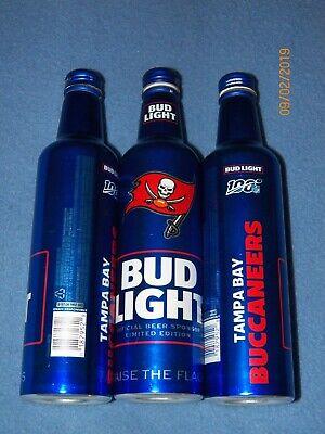 2 2019 Bud Light NFL Tampa Bay Buccaneers 16 oz. aluminum empty bottles football 2