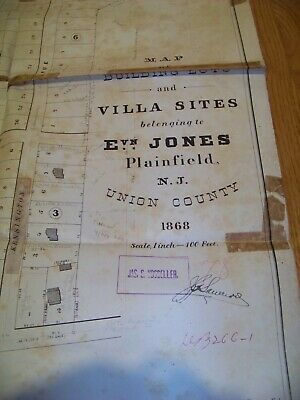 1868 Map Plainfield NJ Evan Jones J. R. Dunham James S. Vosseller Sauerwein 2