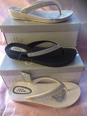 9fe4e80a0 ... S1 Ladies Womens Ella Toe Post Sandals Low Wedge Diamante Flip Flops  Summer Sun 8