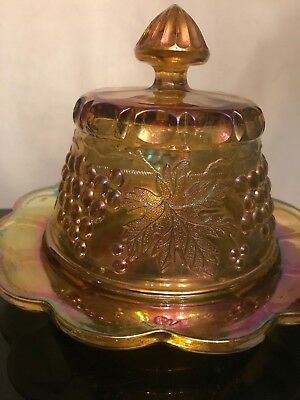 FAB! NORTHWOOD Marigold Grape & Cable Carnival Glass Butter Dish Signed 5