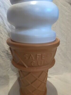 Blow Mold Ice Cream Cone Huge LIGHTED Vanilla Swirl 27""
