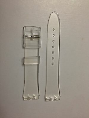 Replacement 17mm (20mm) Watch Strap for SWATCH - Clear/Transparent Resin