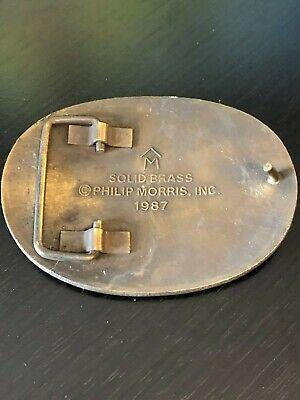 Marlboro Cigarettes Belt Buckle Solid Brass Philip Morris 1987 4