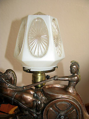 Vtg Art  Deco Frankart Era Egyptian Lamp Glass Shade Chandelier Light Fixture 5