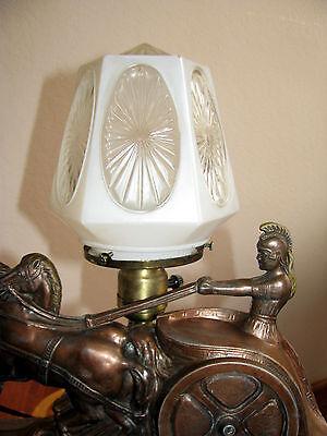 Vtg Art  Deco Frankart Era Egyptian Lamp Glass Shade Chandelier Light Fixture 5