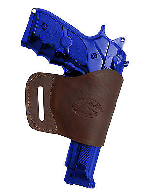 Barsony Brown Leather Yaqui Gun Holster for Astra Beretta 9mm 40 45 Full Size