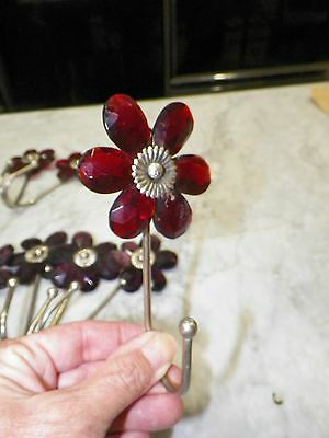 "Set Of Seven (7) Vintage Glass Flower Hooks 3 Red 4 Purple 5"" Long"