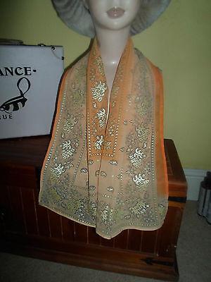 1 NEW Colourful Mixed Fibre Pretty Ladies Scarf Orange+Peach+Gold Gift Idea #80 2