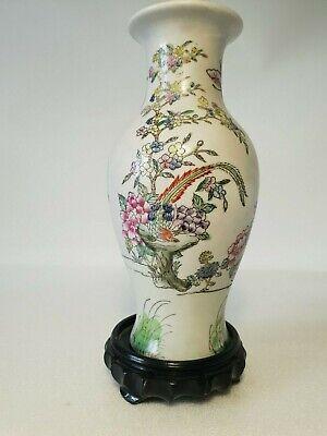 🔅 chine vase a décor oiseaux, papillons, floral à identifier 4