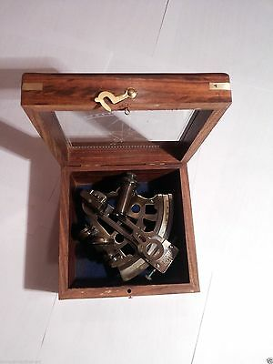 Brass Sextant German Marine Sextant With Wooden Box 4